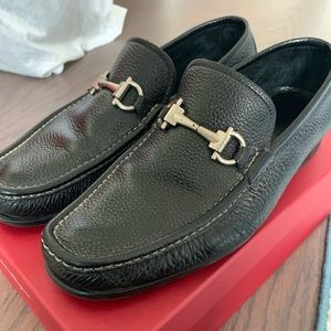 Men's Salvatore Ferragamo Black Pebbled Loafers